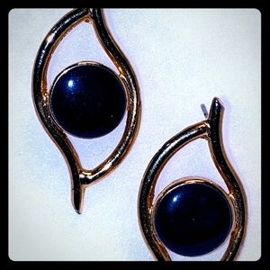 💙 Retro Navy and Gold Earrings